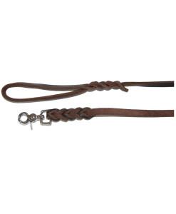 Hundeleine aus Leder braun mit Messing Karabiner - Lederleine - Nubukleder geflochten - handmade